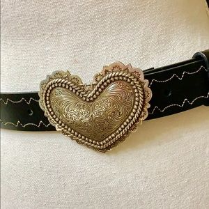 Brighton Silver Heart Leather Black Belt.